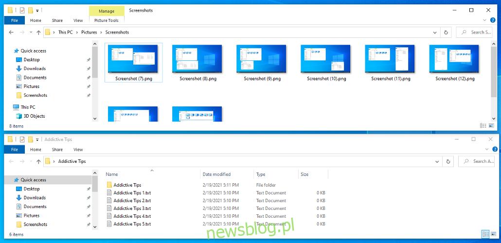 Windows 10 wyświetla podfolder Screenshots w folderze Pictures