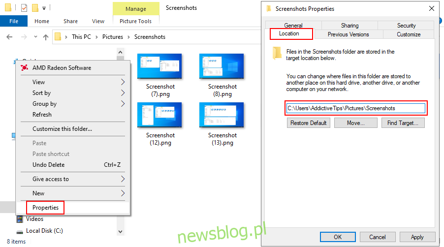Windows 10 pokazuje, jak zmienić domyślną lokalizację zapisanych zrzutów ekranu