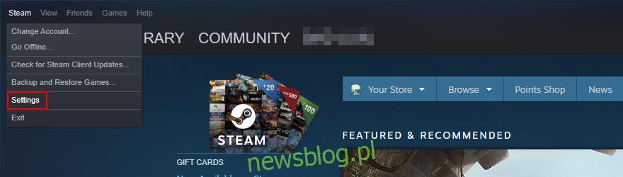 Steam pokazuje, jak uzyskać dostęp do menu Ustawienia