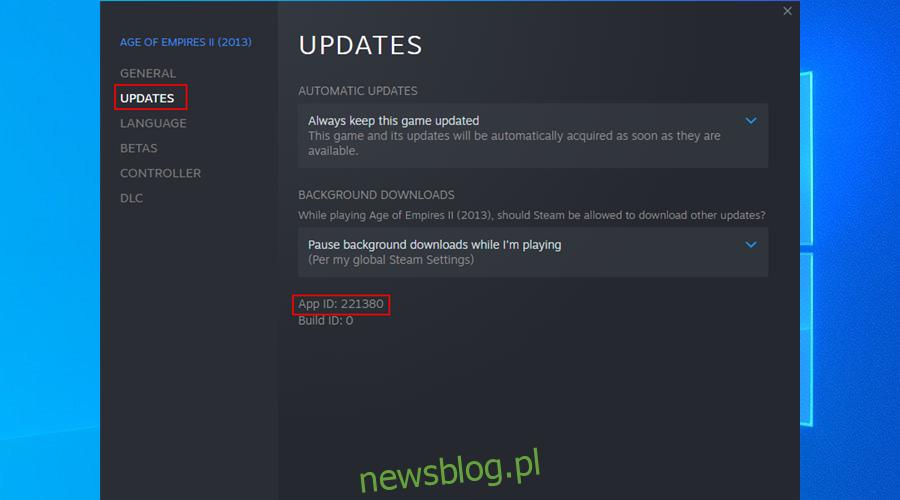 Steam wyświetla identyfikator aplikacji