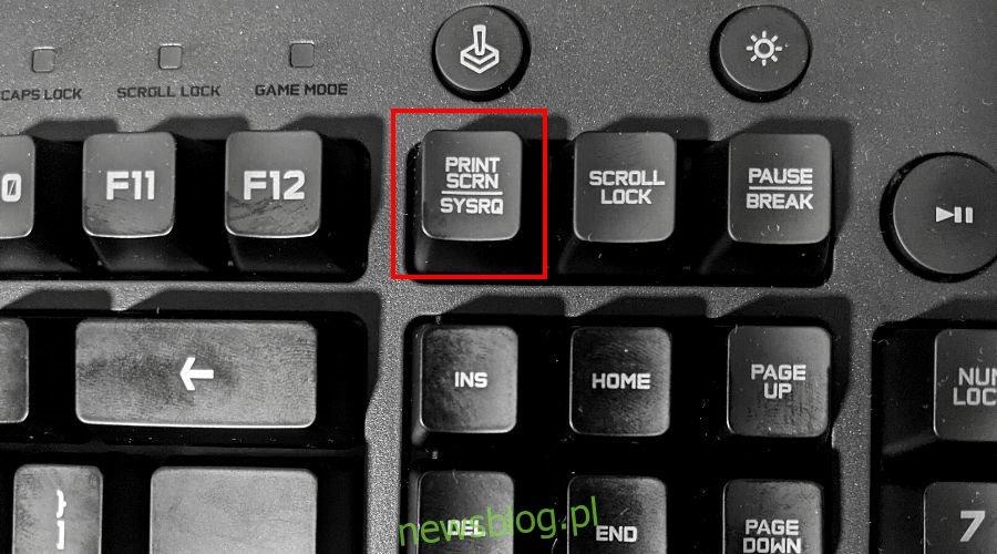 Na klawiaturze wyświetlany jest klawisz Print Screen
