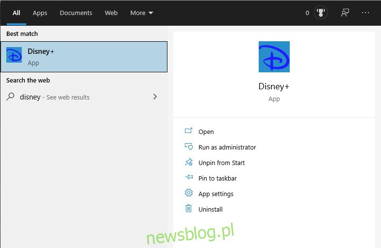 Aplikacja Disney Plus na PC