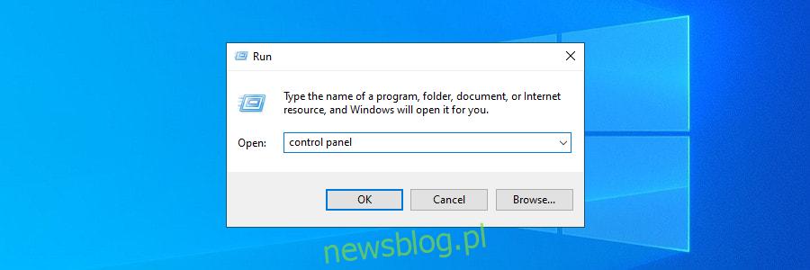 Windows 10 pokazuje, jak uzyskać dostęp do Panelu sterowania za pomocą narzędzia Uruchom
