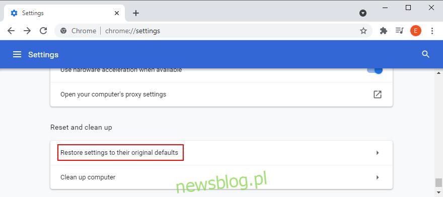 Google Chrome pokazuje, jak uzyskać dostęp do opcji przywracania domyślnych ustawień przeglądarki