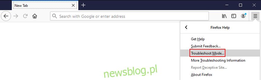 Mozilla Firefox pokazuje, jak uzyskać dostęp do trybu rozwiązywania problemów z menu
