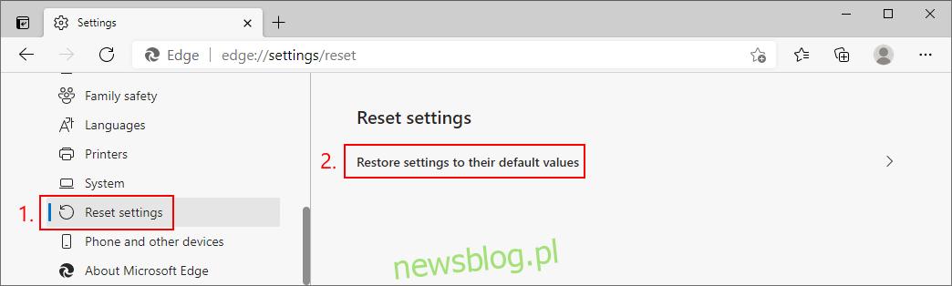 Microsoft Edge pokazuje, jak zresetować ustawienia