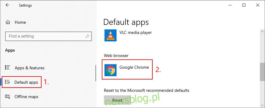 Windows 10 pokazuje, jak ustawić domyślną przeglądarkę internetową