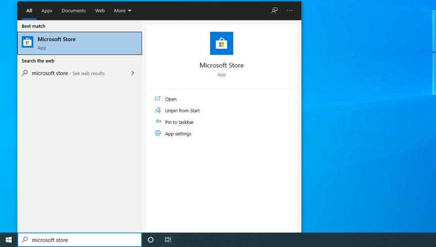 Windows 10 pokazuje, jak uzyskać dostęp do Microsoft Store z menu Start