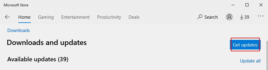 Microsoft Store pokazuje, jak uzyskać aktualizacje