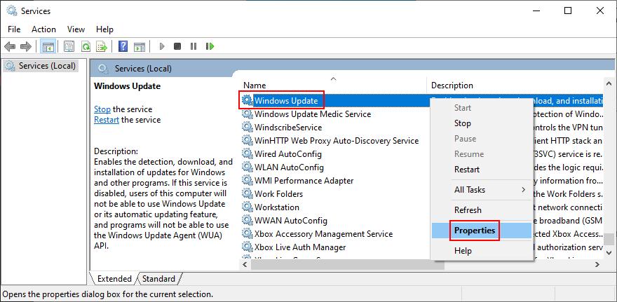 Windows 10 pokazuje, jak uzyskać dostęp do właściwości usługi Windows Update