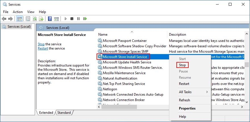 jak zatrzymać usługę Microsoft Store Install Service