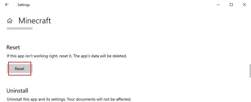 Windows 10 pokazuje, jak zresetować aplikację Minecraft