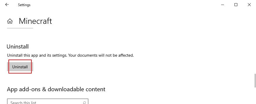 Windows 10 pokazuje, jak odinstalować aplikację Minecraft