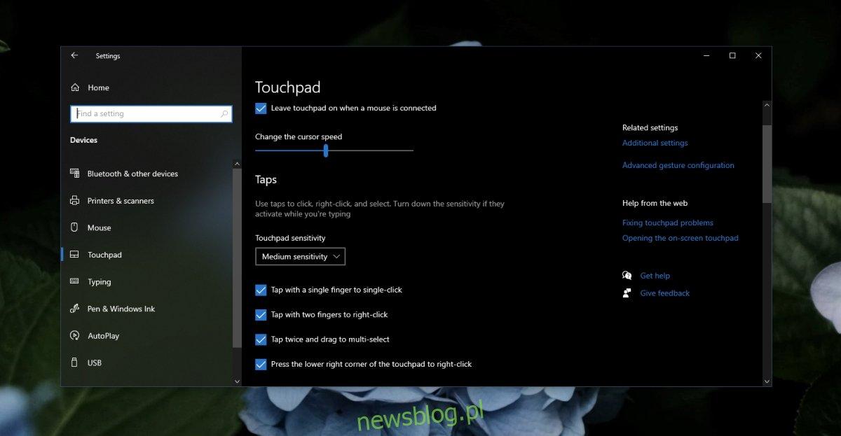 Ustawienia kliknięcia touchpada